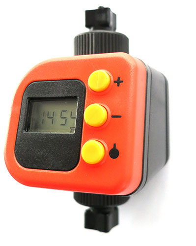 The BG-CO2 Timer for Biogents mosquito traps consists of a body with a display and buttons to set up the release times, two connections to the CO2 tubes.