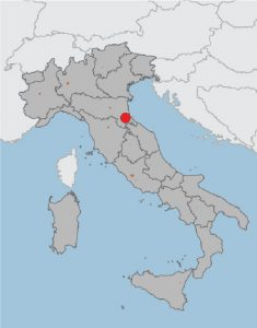 Cesena in Italy, map