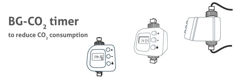 The BG-CO2 timer allows you to control when CO2 is released by establishing specific start and stop times. It enables you to set up two start and end times to release CO2 each day.