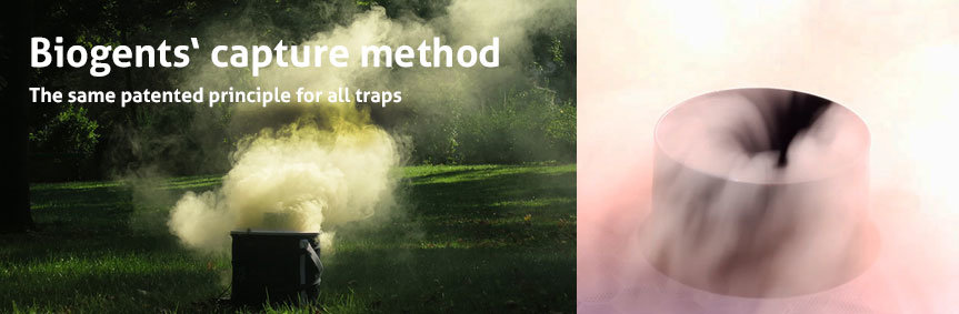 Suction currents of a Biogents mosquito trap visualized with colored smoke.